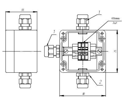 Коробка клеммная взрывобезопасная с кабельными вводами под небронированный кабель. Габарит 80х75х55