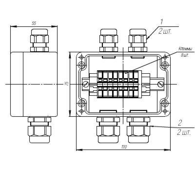 Коробка клеммная взрывобезопасная с кабельными вводами под небронированный кабель. Габарит 110х75х55