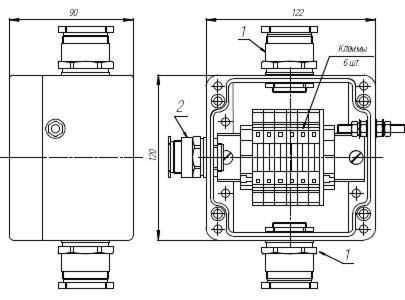 Коробка клеммная взрывобезопасная с кабельными вводами под небронированный кабель. Габарит 122х120х90