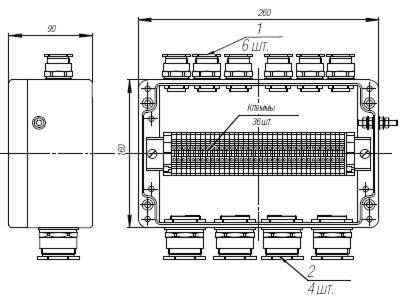 Коробка клеммная взрывобезопасная с кабельными вводами под небронированный кабель. Габарит 260х160х90