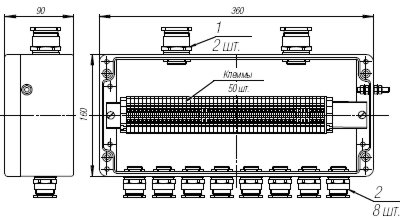 Коробка клеммная взрывобезопасная с кабельными вводами под небронированный кабель. Габарит 360х160х90