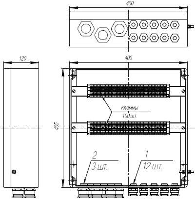 Коробка клеммная взрывобезопасная с кабельными вводами под небронированный кабель. Габарит 400х405х120