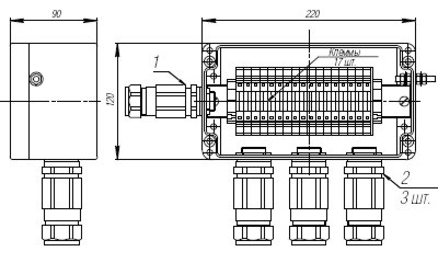 Коробка клеммная взрывобезопасная с кабельными вводами под бронированный кабель. Габарит 220х120х90