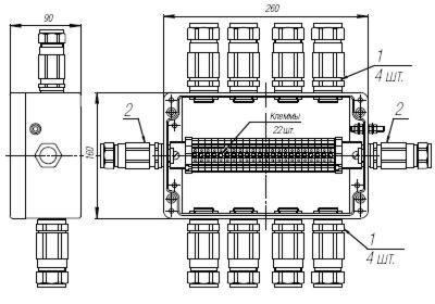 Коробка клеммная взрывобезопасная с кабельными вводами под бронированный кабель. Габарит 260х160х90