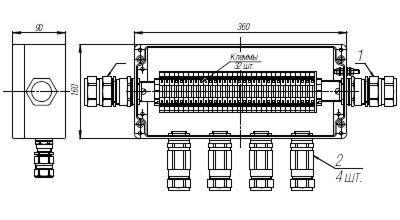 Коробка клеммная взрывобезопасная с кабельными вводами под бронированный кабель. Габарит 360х160х90