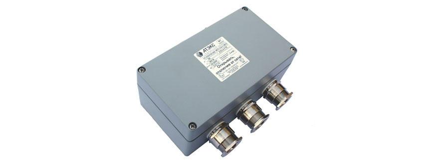 Коробка клеммная взрывобезопасная с кабельными вводами под небронированный кабель. Габарит 220х120х90