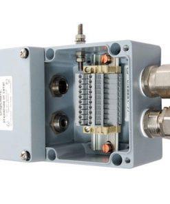 Коробка клеммная взрывобезопасная с кабельными вводами под бронированный кабель. Габарит 122х120х90