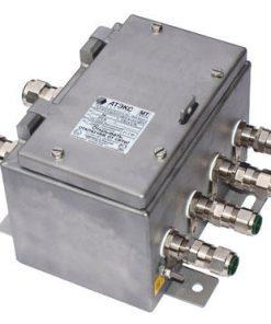Коробка клеммная взрывобезопасная с кабельными вводами под бронированный кабель. Габарит 184х274х140